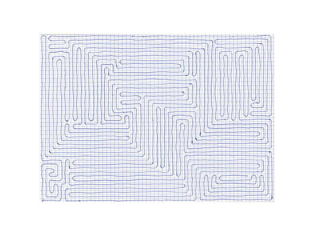 Claude Closky, 'Going Everywhere (Run 15)', 2009, blue ballpoint pen on grid paper, 21 x 30 or 30 x 21 cm.