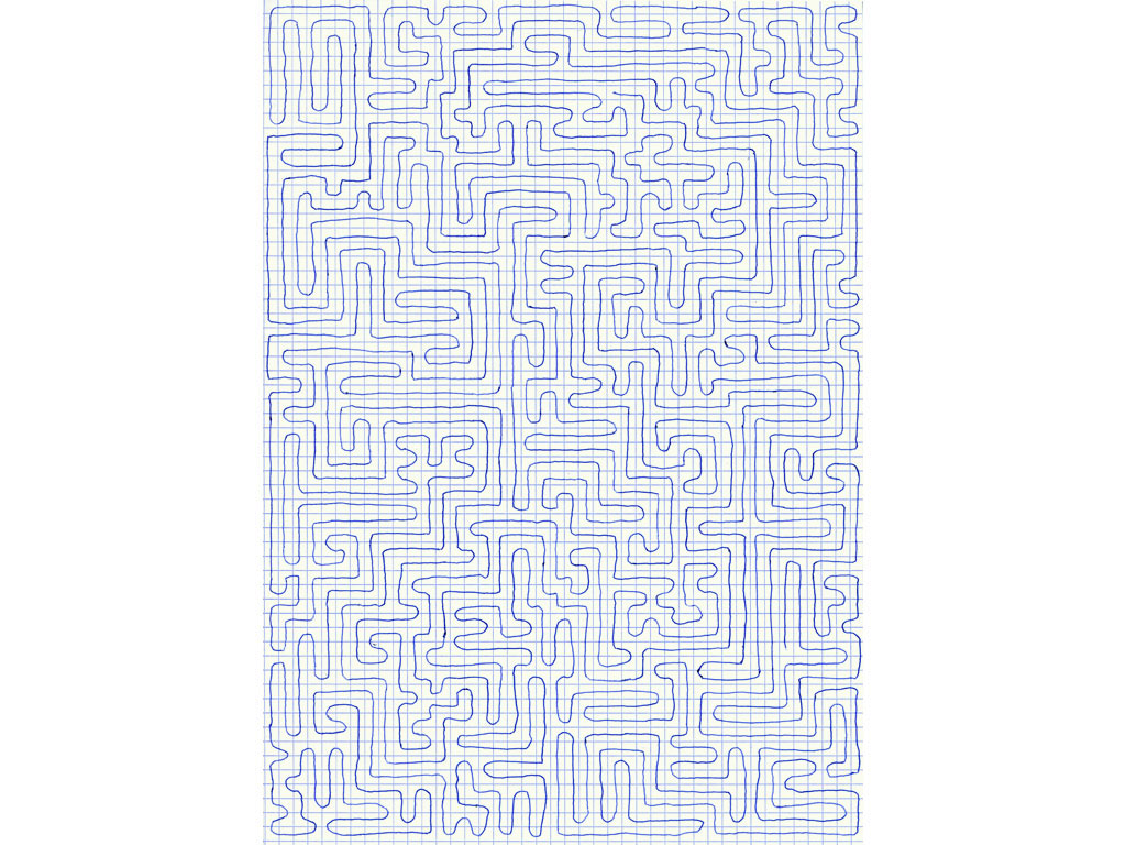 Claude Closky, 'Going Everywhere (Run 16)', 2009, blue ballpoint pen on grid paper, 21 x 30 or 30 x 21 cm.