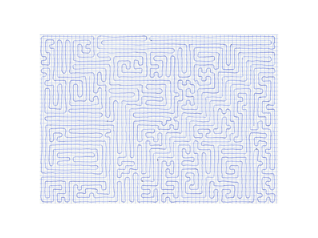 Claude Closky, 'Going Everywhere (Run 17)', 2009, blue ballpoint pen on grid paper, 21 x 30 or 30 x 21 cm.