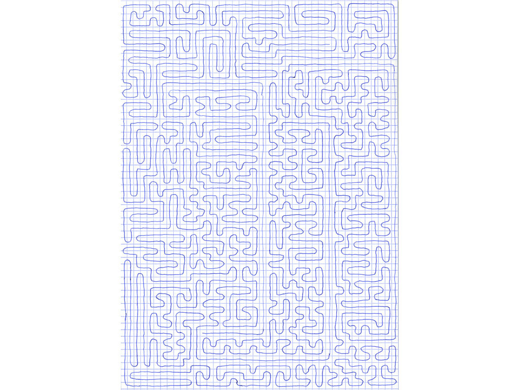 Claude Closky, 'Going Everywhere (Run 18)', 2009, blue ballpoint pen on grid paper, 21 x 30 or 30 x 21 cm.