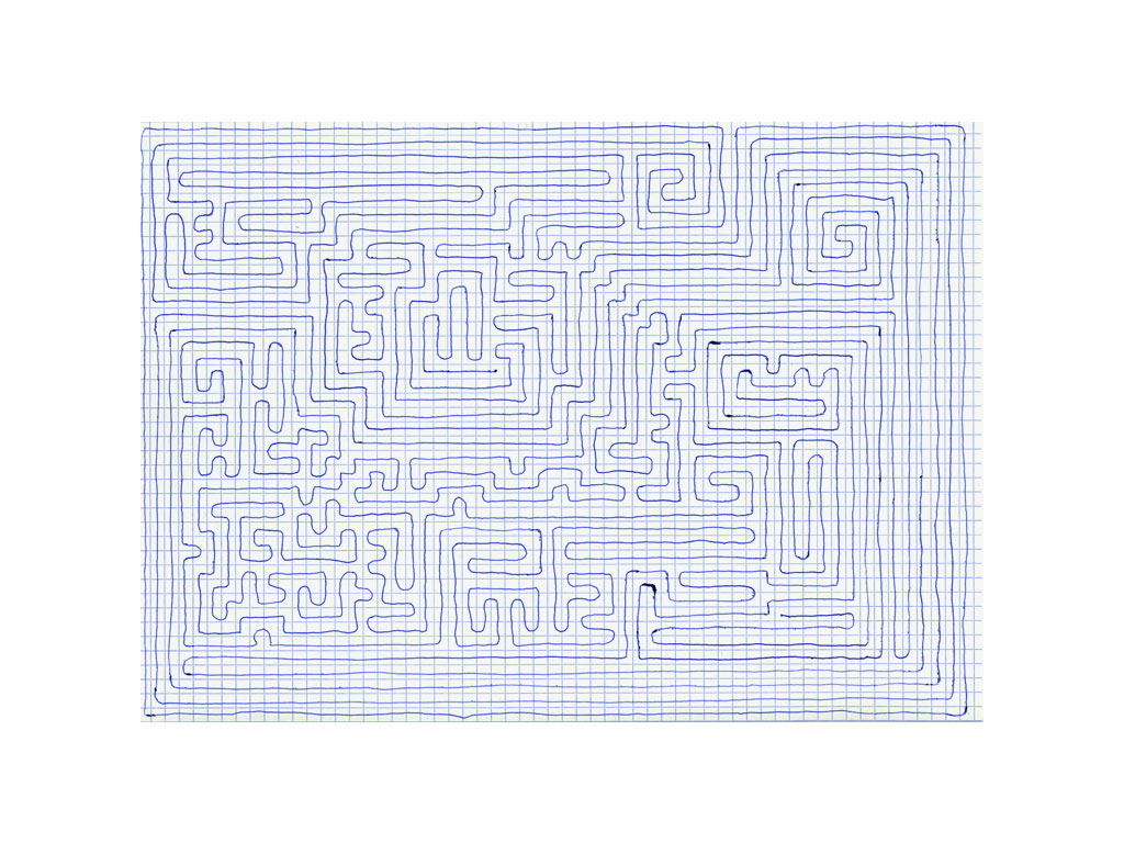 Claude Closky, 'Going Everywhere (Run 19)', 2009, blue ballpoint pen on grid paper, 21 x 30 or 30 x 21 cm.