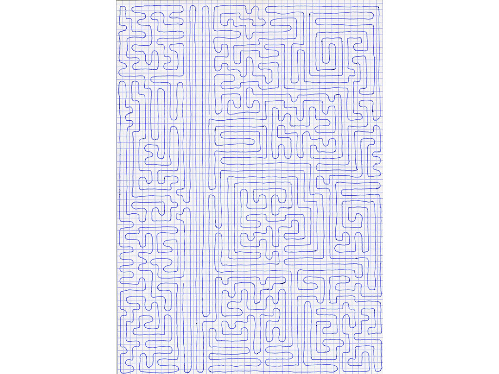 Claude Closky, 'Going Everywhere (Run 20)', 2009, blue ballpoint pen on grid paper, 21 x 30 or 30 x 21 cm.