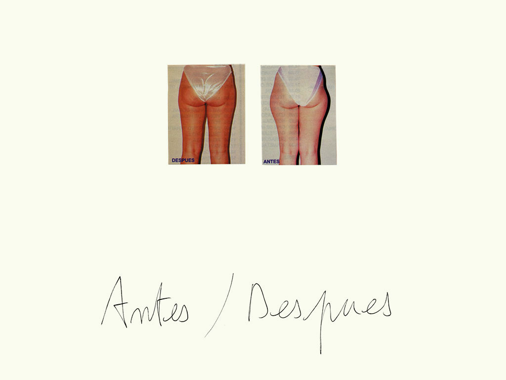 Claude Closky, 'Antes /  Despues [Before / After (legs)]', 1997, black ballpoint pen and collage on paper, 32 x 24 cm.