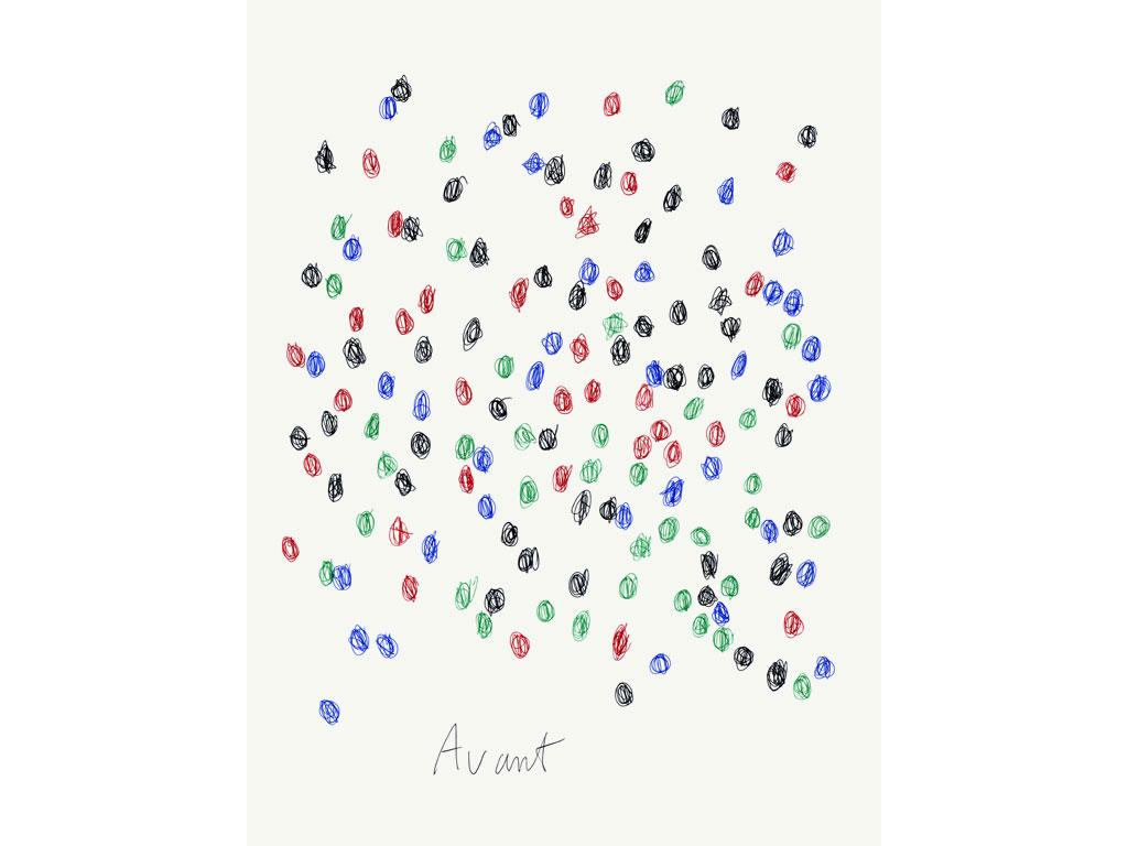Claude Closky, 'Avant/Après (4 couleurs) [Before/After (4 colours)]', 2004, ball point pen on paper, diptych 2 x 40 x 30 cm.