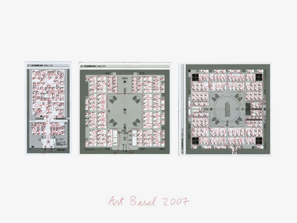 Claude Closky, 'Art Basel 2007', 2007, ballpoint pen and collage on paper, 50 x 65 cm.