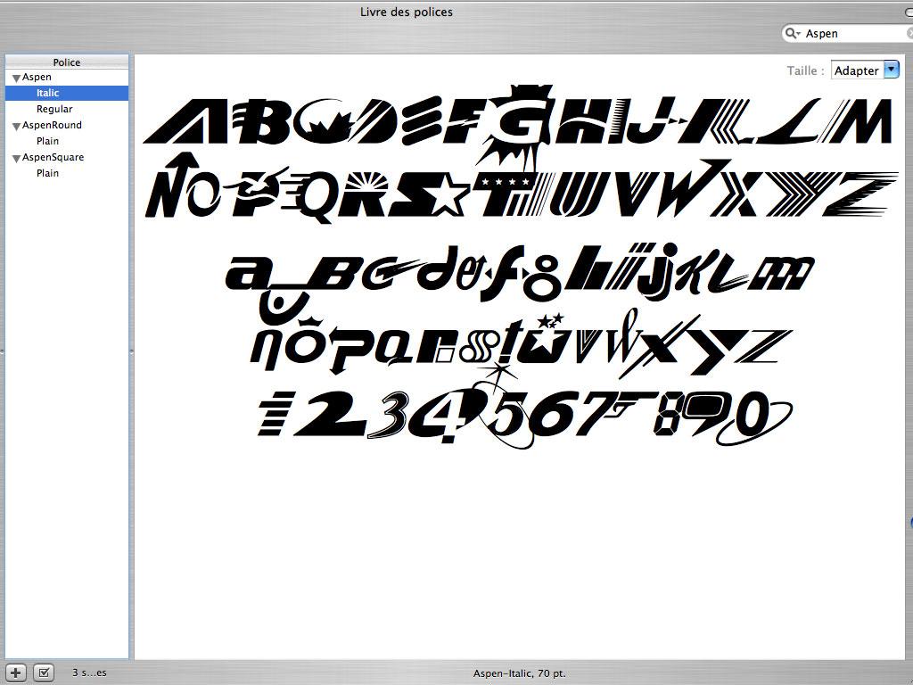 Claude Closky, 'Aspen', 1992-2003, Postscript font (Mac & PC), Regular, Italic, round, square.