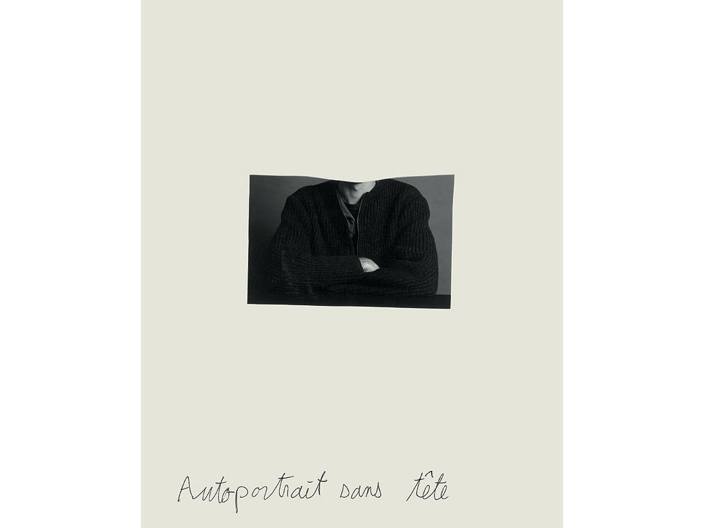 Claude Closky, 'Autoportrait sans tête [headless self-portrait]', 1993, black and white photograph and ballpoint pen on paper, 30 x 24 cm.