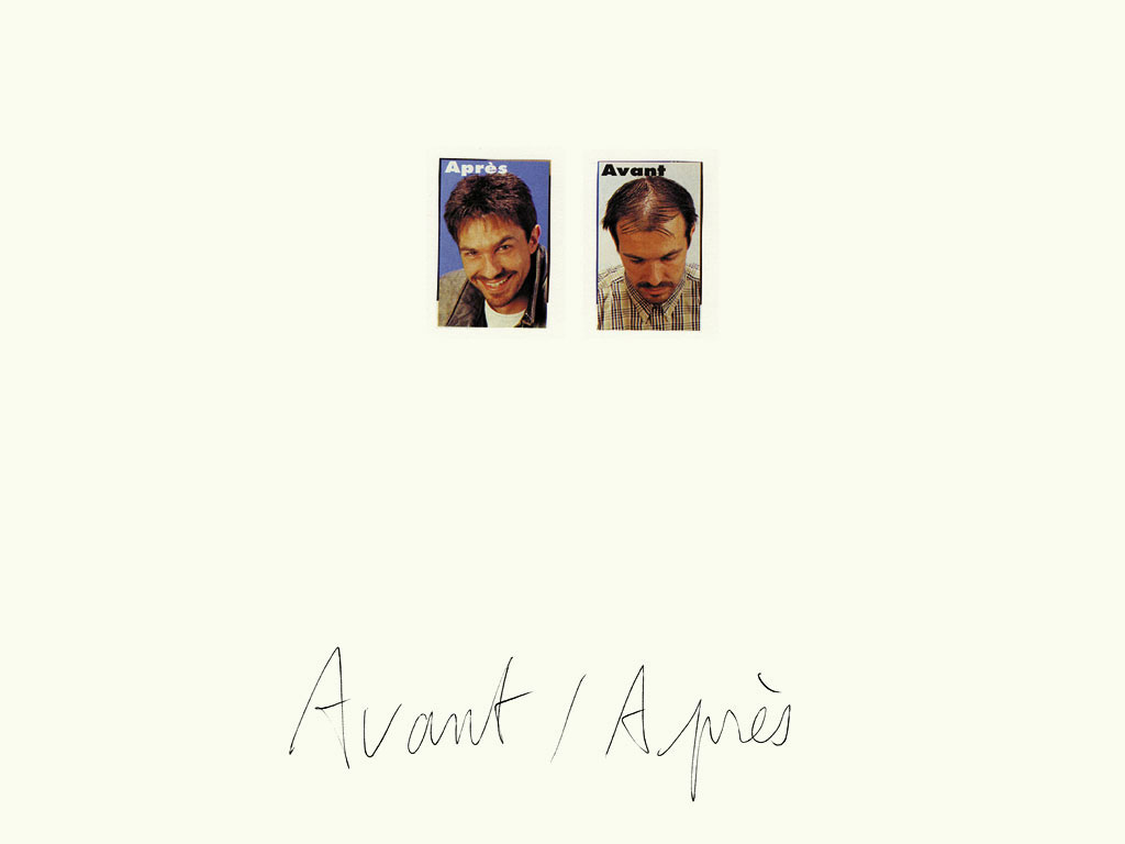 Claude Closky, 'Avant / Après (jeune homme) [Before / After (Young man)]', 1997, black ballpoint pen and collage on paper, 32 x 24 cm.
