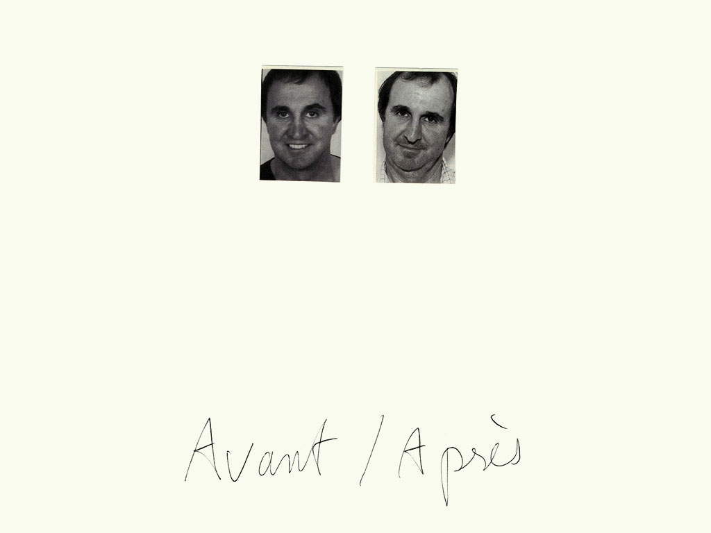 Claude Closky, 'Avant / Après (visage homme) [Before / After (man's face)]', 1997, black ballpoint pen and collage on paper, 32 x 24 cm.