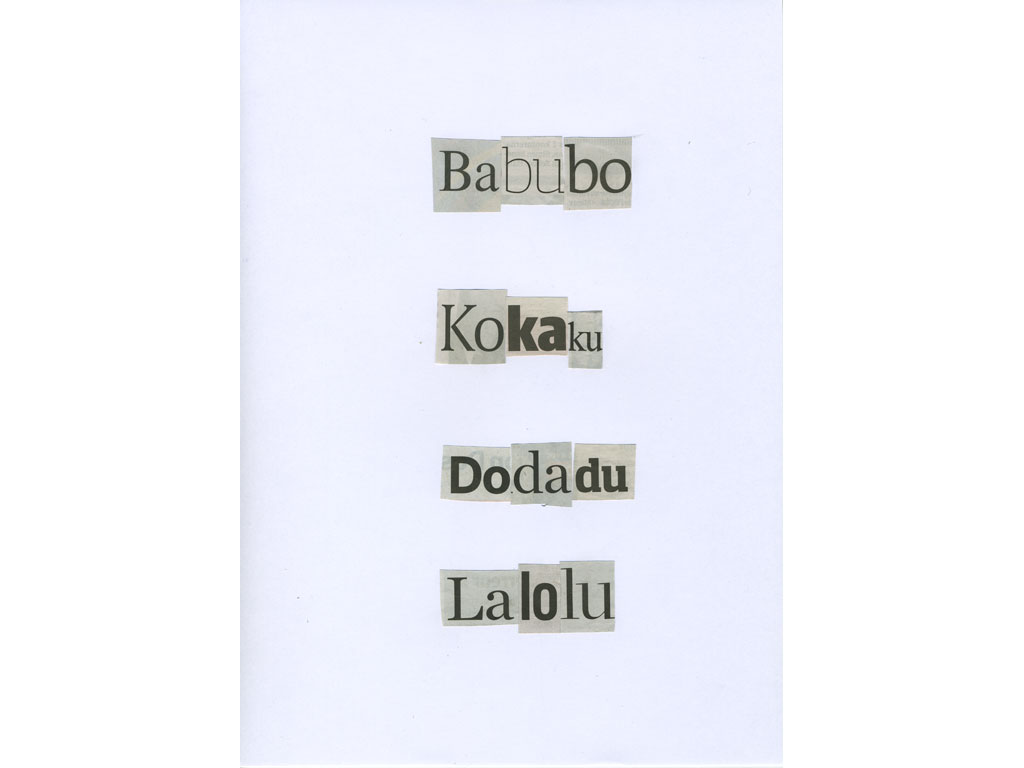 Claude Closky, 'Babubo,' 2010, collage on paper, diptyque, twice 30 x 21 cm.