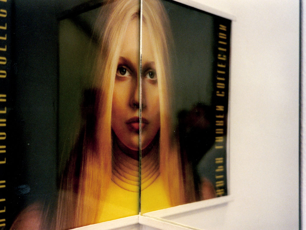 Claude Closky, 'Beautiful faces (Ralph Lauren)', 1997, magazine page and mirror, installed in a right angled corner, 35 x 25 x 25 cm.