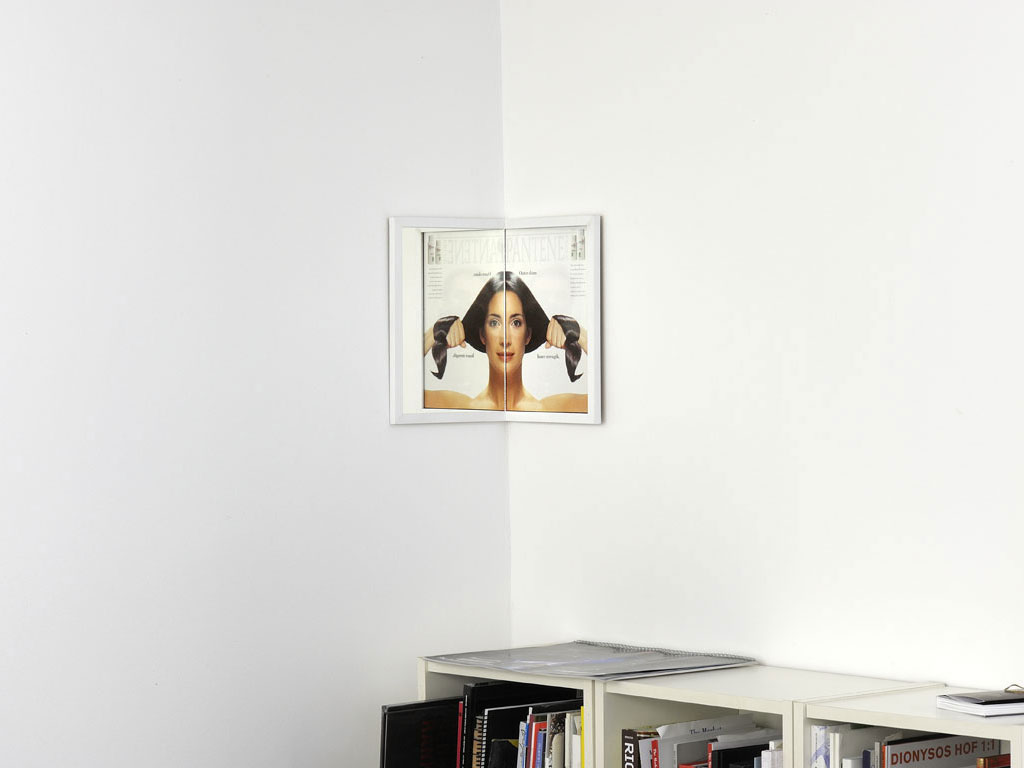 Claude Closky, 'Beautiful face (Pantene)', 1998-2001, magazine page and mirror, installed in a right angled corner, 27,5 x 21,5 x 21,5 cm.