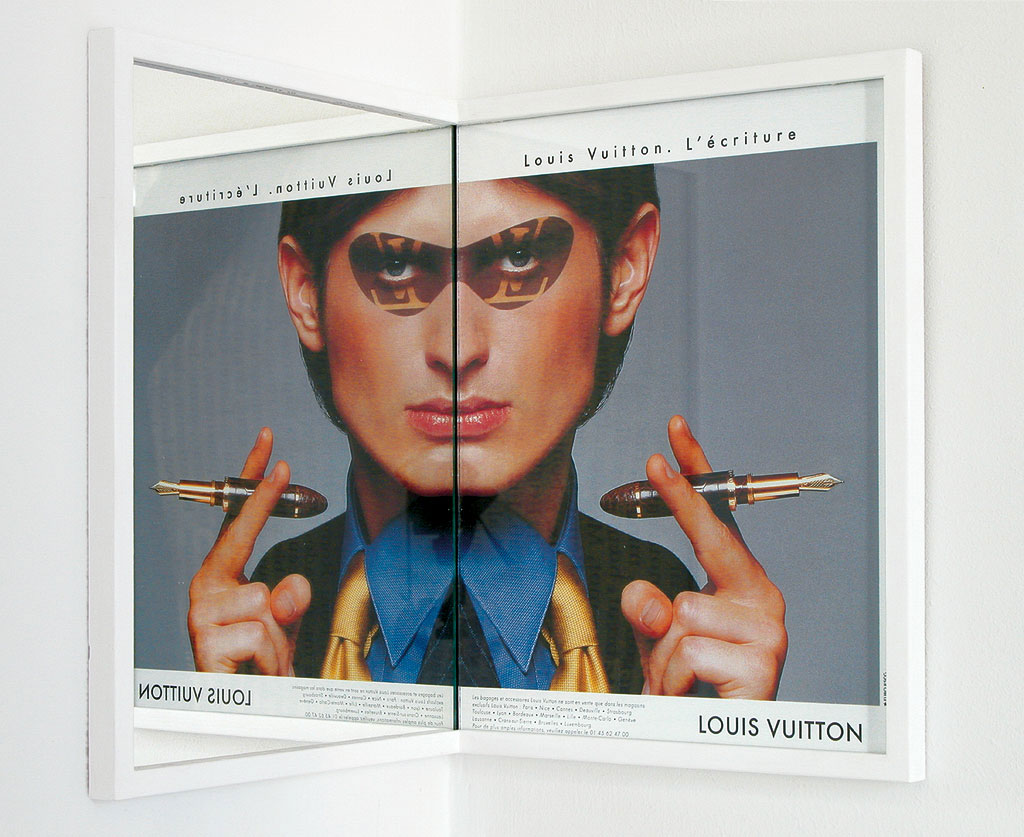 Claude Closky, 'Beautiful face (Vuitton)', 1998-2001, magazine page and mirror, installed in a right angled corner, 27,5 x 21,5 x 21,5 cm.