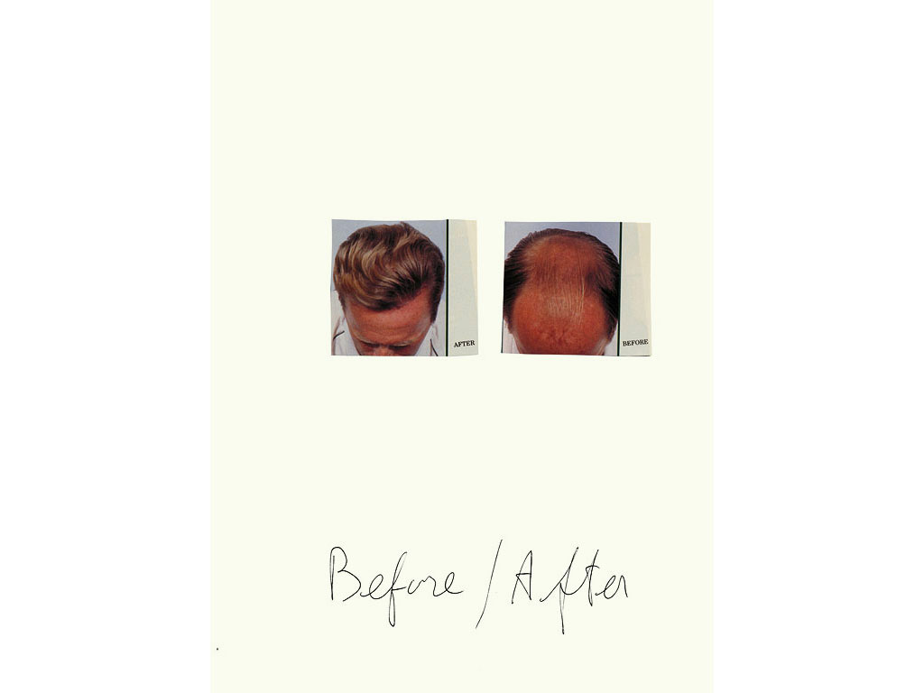 Claude Closky, 'Before / After (blond)', 1997, black ballpoint pen and collage on paper, 32 x 24 cm.