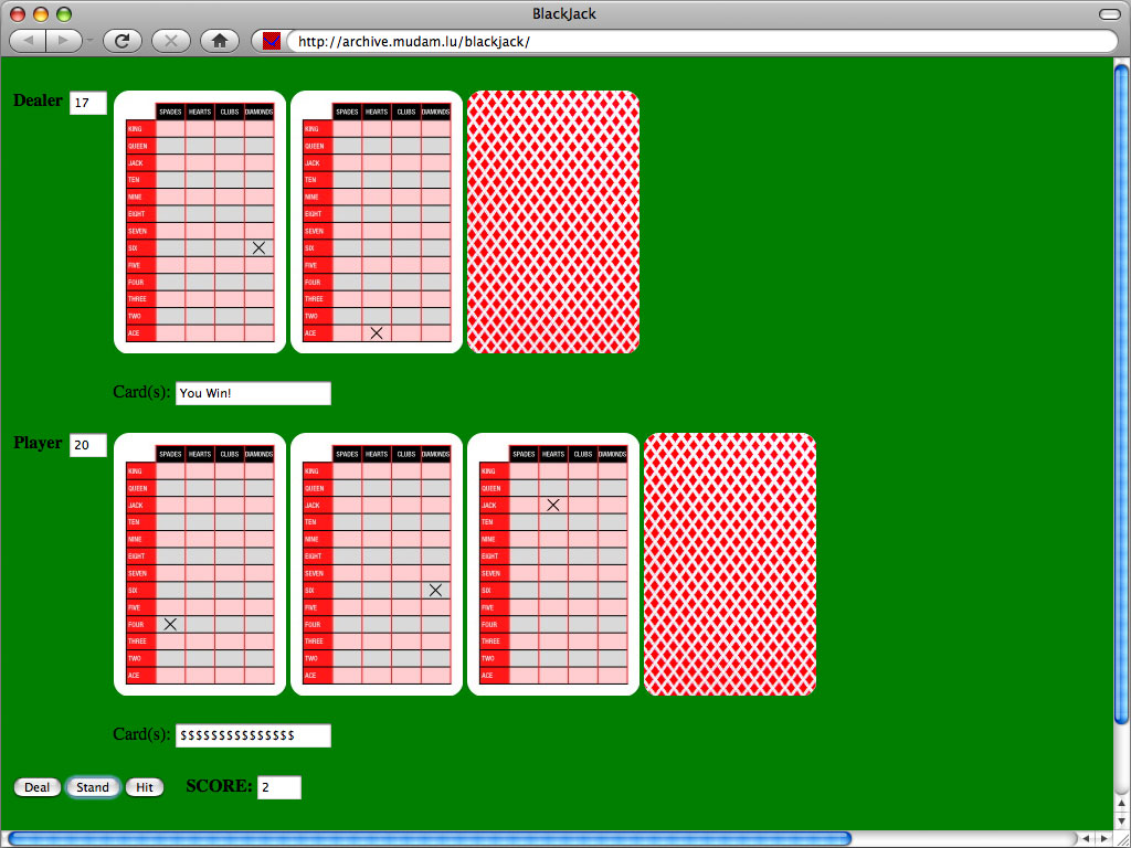 Claude Closky, 'Blackjack,' 2006, interactive web site, Javascript (http://archive.sittes.net/mudam/blackjack/).