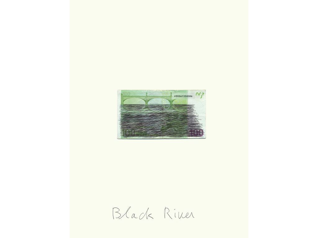 Claude Closky, 'Black River', 2007, black ballpoint pen, bank note, 40 x 30 cm.