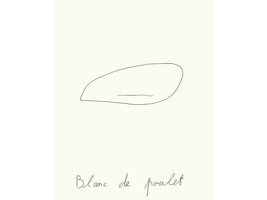 Claude Closky, 'Blanc de poulet [Chicken breast]', 1995, ballpoint pen on paper, 30 x 24 cm.