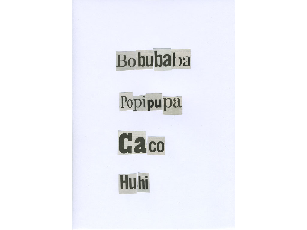 Claude Closky, 'Bobubaba', 2010, collage on paper, diptyque, twice 30 x 21 cm.
