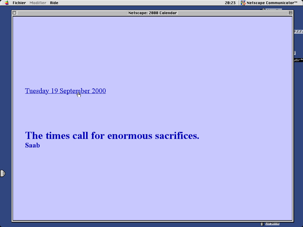 Claude Closky, '2000 Calendar', 1999, web site, Html, Javascript (http://www.walkerart.org/gallery9/closky), 365 pages.