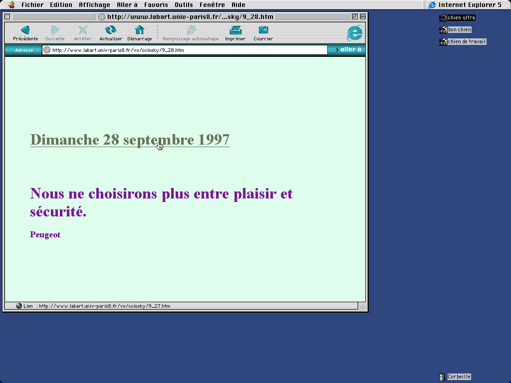 Claude Closky, 'Calendrier 1997 [1997 Calendar]', 1996-1997, interactive web site, Html, Javascript (http://search.it.online.fr/mirror/ClaudeClosky/VO/1997.htm), 365 pages.