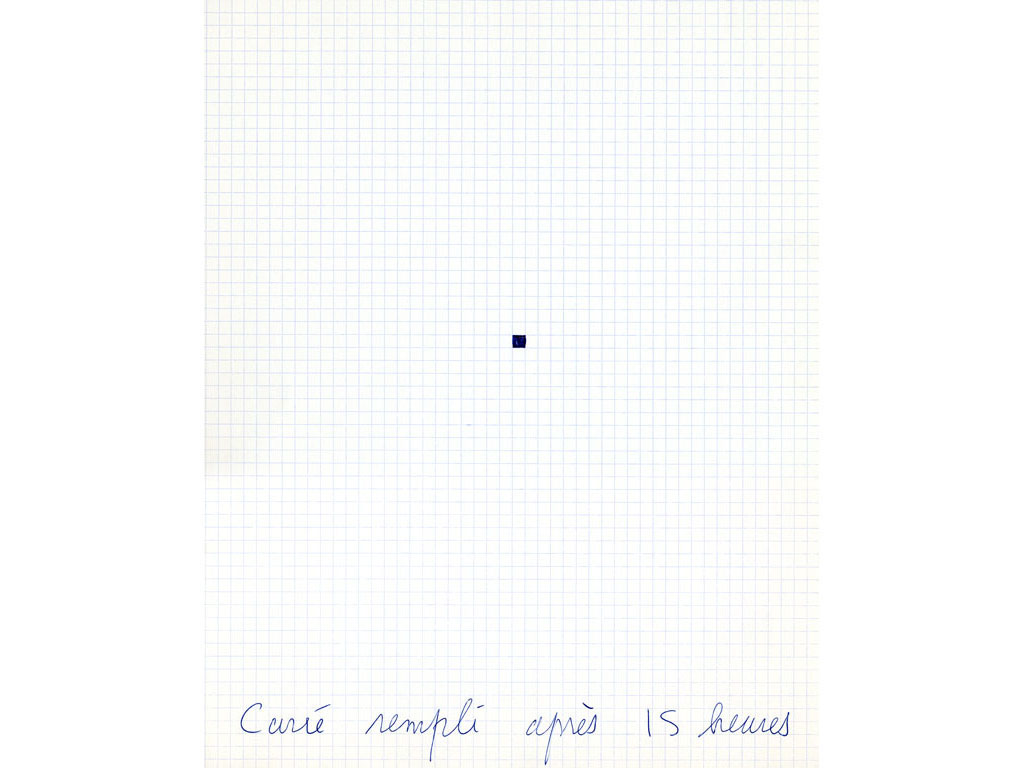 Claude Closky, 'Carré rempli après 15 heures [Square filled after 3 pm]', 1995, ballpoint pen on grid paper, 30 x 24 cm.