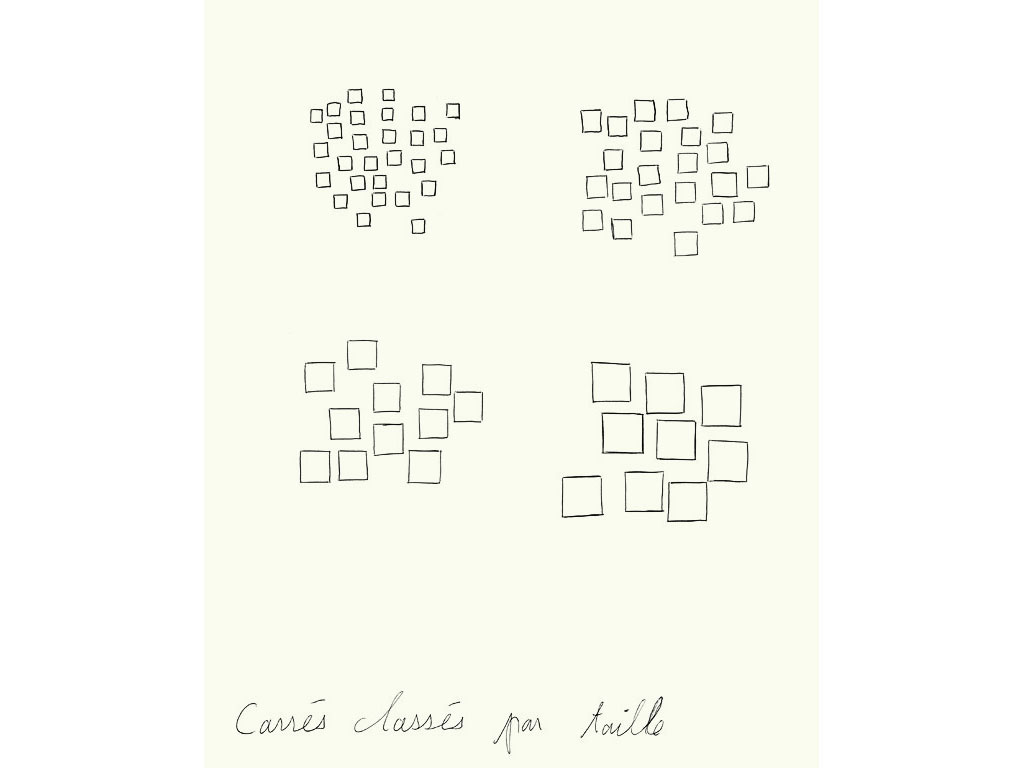 Claude Closky, 'Carrés classés par taille [square classify by size]', 1990, ballpoint pen on paper, 30 x 24 cm.