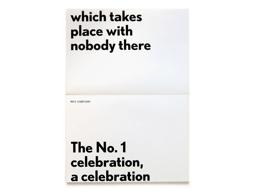 Claude Closky, 'No. 1 Celebration', 2006, insert in Pierre Huyghe's 'One Year', Paris: Onestar Press, double page, 29,7 x 21 cm.