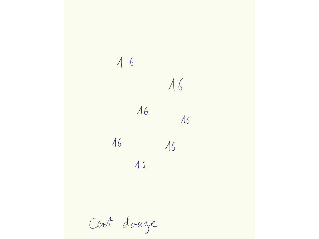Claude Closky, 'Cent douze [A hundred and twelve]', 1996, blue ballpoint pen on paper, 30 x 24 cm.