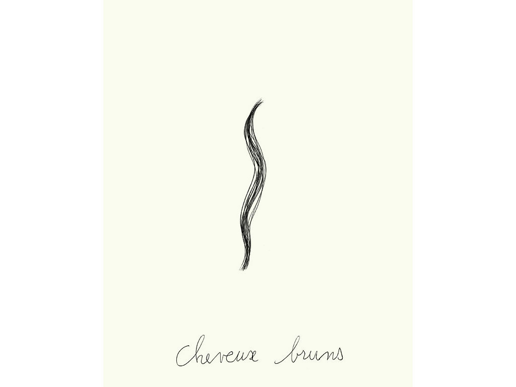 Claude Closky, 'Cheveux bruns [dark hair]', 1996, black ballpoint pen on paper, 30 x 24 cm.