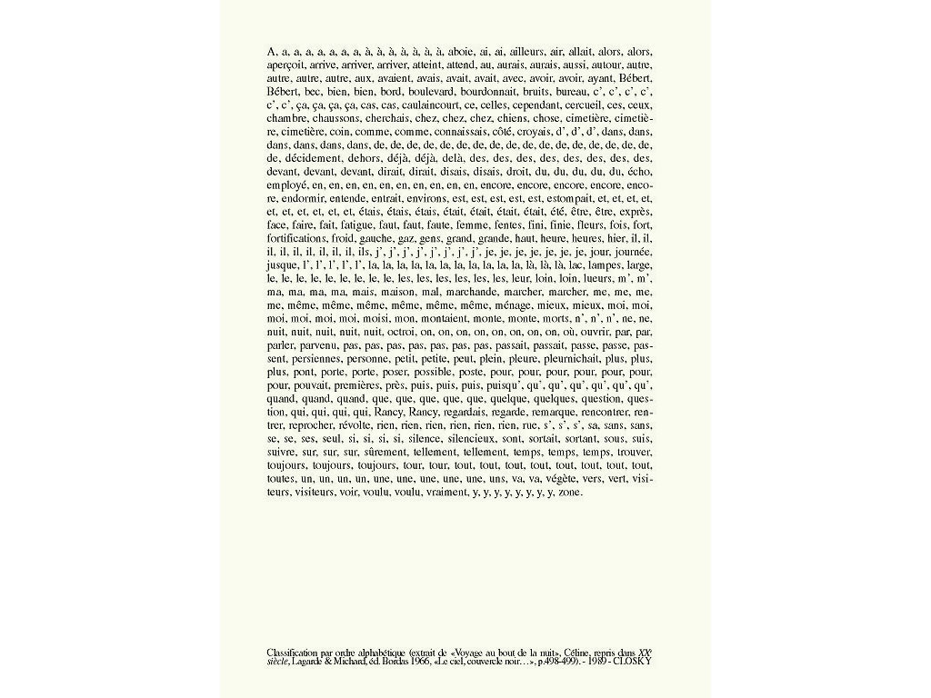 Claude Closky, 'Classification par ordre alphabétique [Classification in alphabetical order] ('Voyage au bout de la nuit')', 1989, laser print on paper, 29,7 x 21 cm.