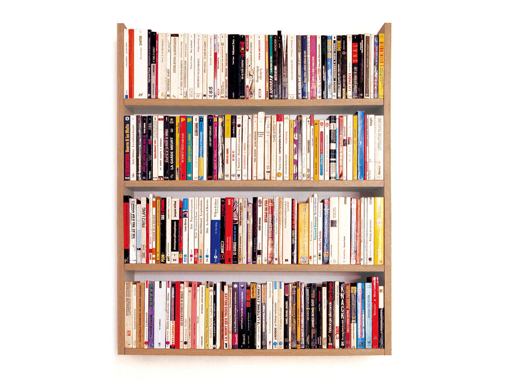 Claude Closky, 'Collection Beginning', 1992, paperback books, shelf, 90 x 70 x 30 cm. Exhibition view Galerie Jennifer Flay, Paris. 17 April - 22 May 1993.