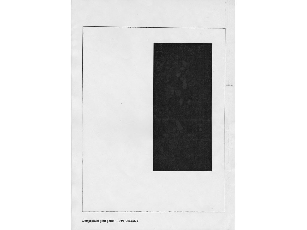 Claude Closky, 'Composition for photo', 1989, laserprint on paper, 21 x 29,7 cm.