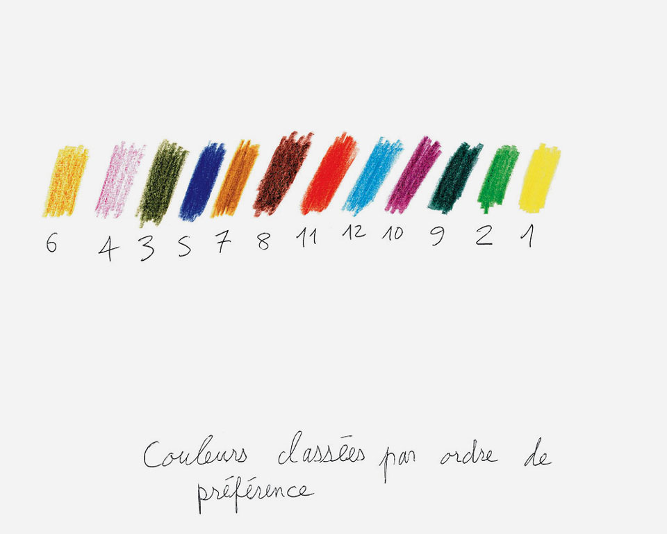 Claude Closky, 'Couleurs classées par ordre de préférence [Colors classified by order of preference],' 1992, crayon on paper, 24 x 30 cm.