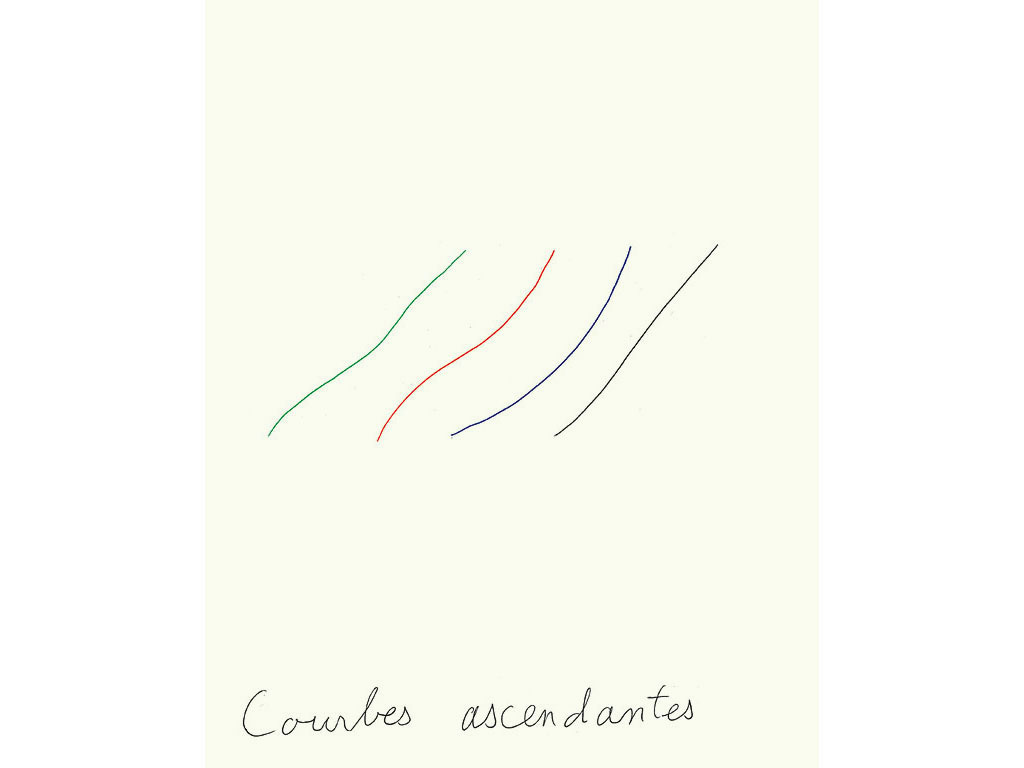 Claude Closky, 'Courbes ascendantes [Rising curves],' 1996, black, blue, green, red ballpoint and collage pen on paper, 30 x 24 cm.