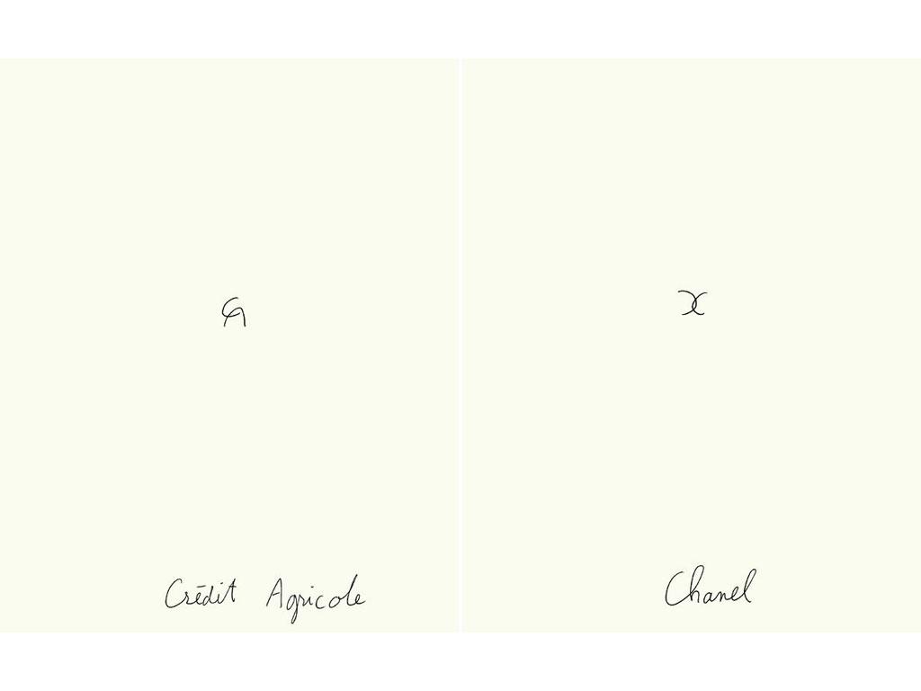 Claude Closky, 'Crédit agricole - Chanel', 1991, black ballpoint pen on paper, 2 drawings 30 x 24 cm each.