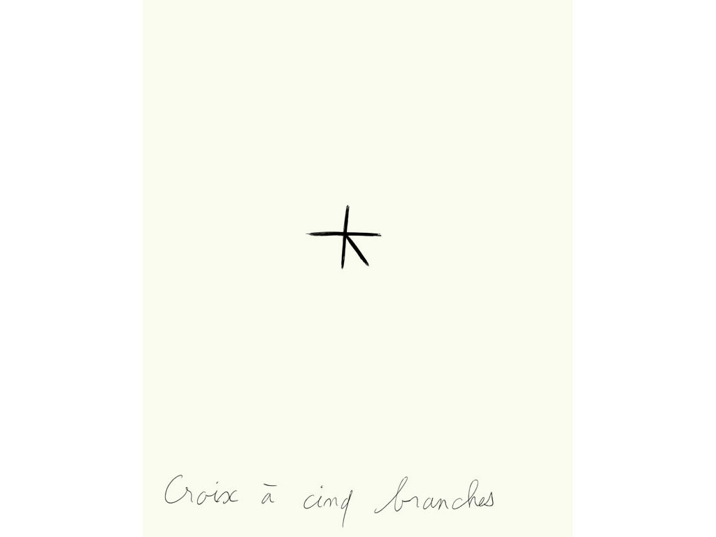 Claude Closky, 'Croix à cinq branches [Five-pointed cross]', 1996, black ballpoint pen on paper, 30 x 24 cm.
