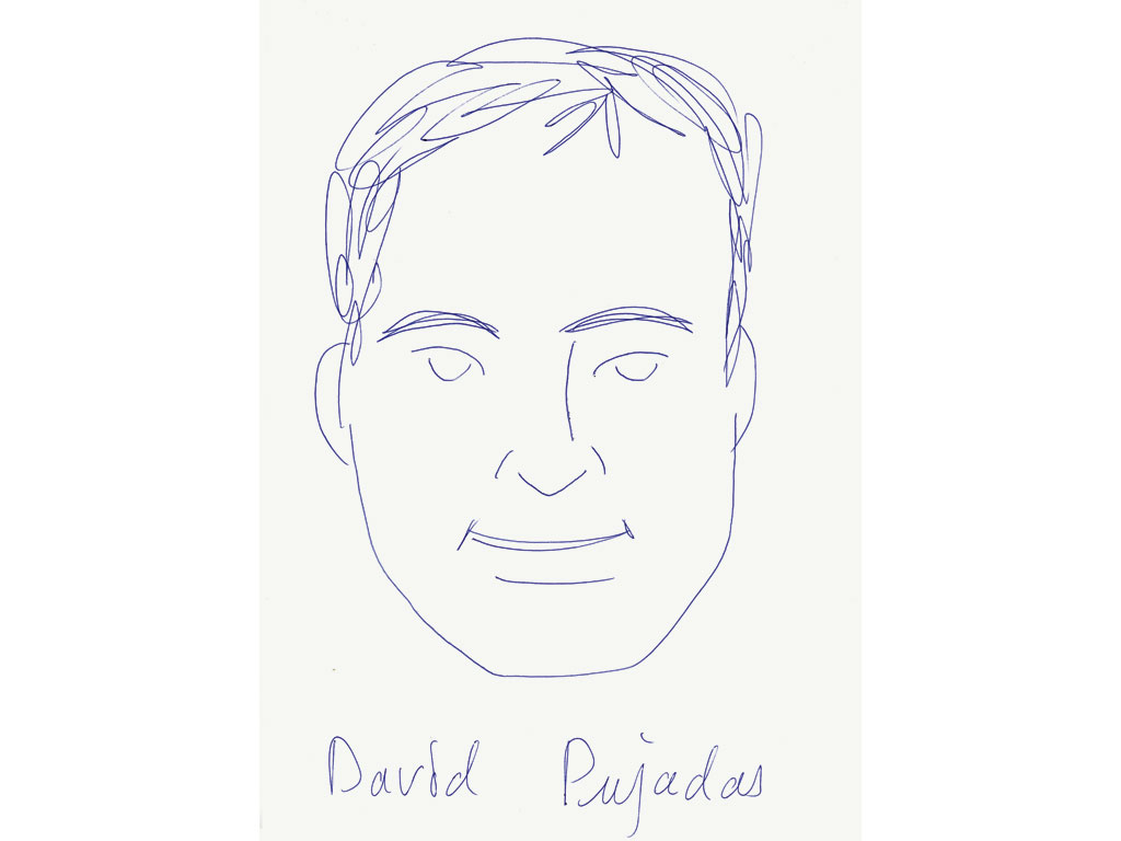 Claude Closky, 'David Pujadas', 2001, blue ballpoint pen on paper, 29.7 x 21 cm.