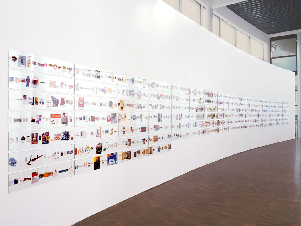 Claude Closky, 'From 1 to 1,000 francs', 1993, collage on glass, 140 x 1350 cm. Exhibition view Centre d'art contemporain de Brétigny, Brétigny-sur-Orge. 11 December 1993 - 19 February 1994. Curated by Xavier Franceschi