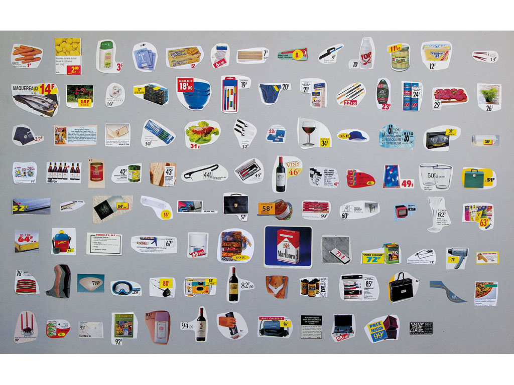 Claude Closky, 'From 1 to 100 F', 1993, collage, 65 x 100 cm.