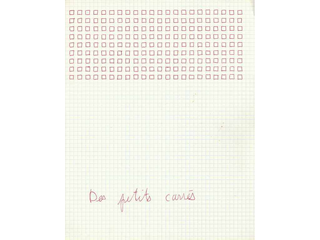 Claude Closky, 'Des petits carrés [Some small squares]', 1992, ballpoint pen on grid paper, 30 x 24 cm.