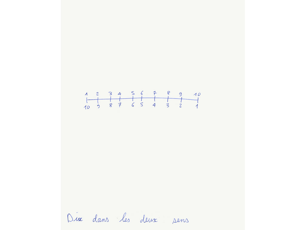Claude Closky, 'Dix dans les deux sens [Ten on both directions]', 1992, ballpoint pen on paper, 30 x 24 cm.
