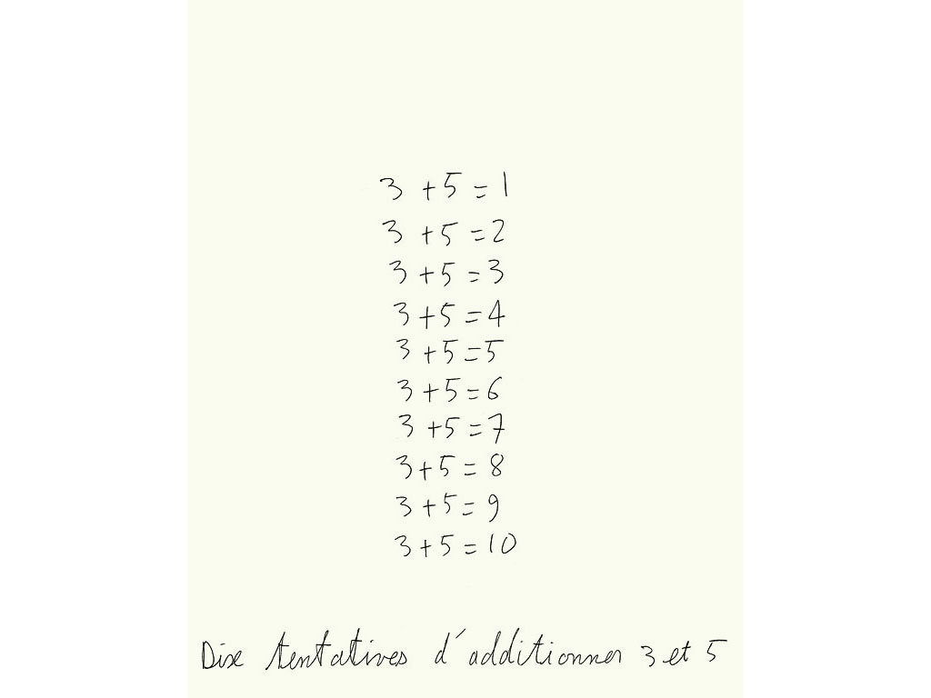 Claude Closky, 'Dix tentatives d'additionner 3 et 5 [ten attempts to add 3 and 5]', 1993, ballpoint pen on paper, 30 x 24 cm.