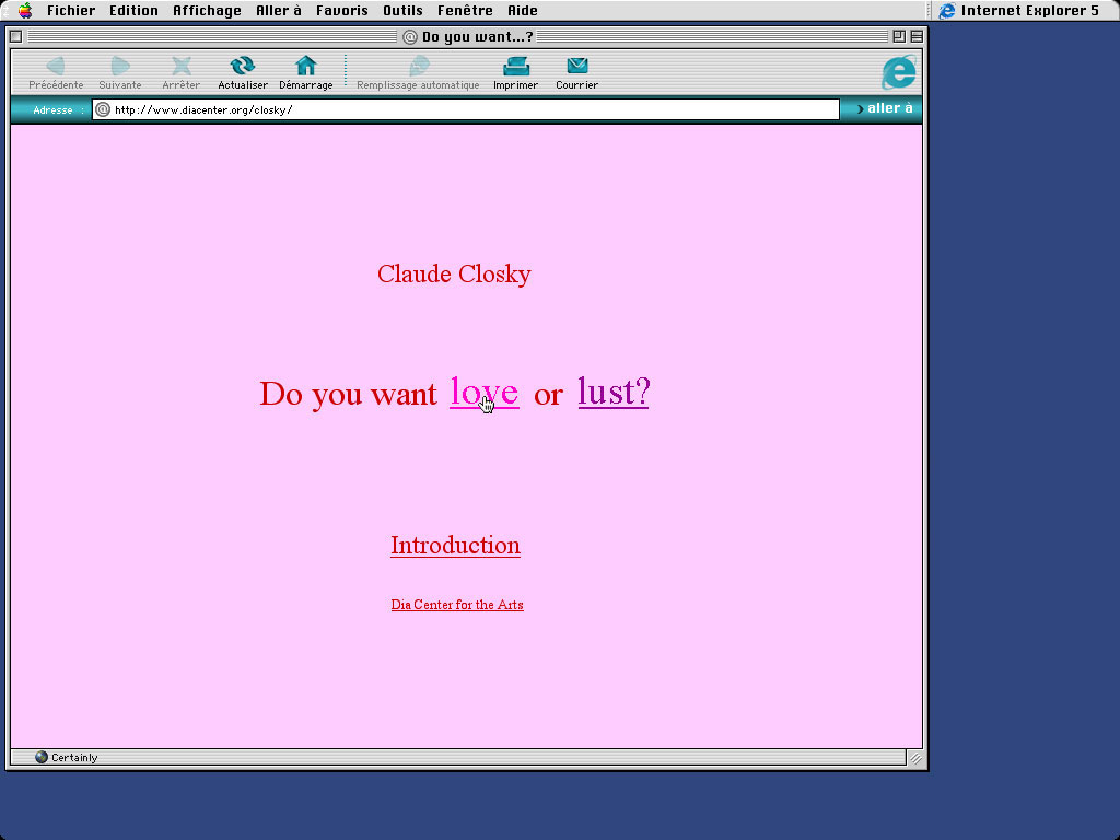 Claude Closky, 'Do you want love or lust?', 1997, interactive web site, Html, Javascript (http://awp.diaart.org/closky).