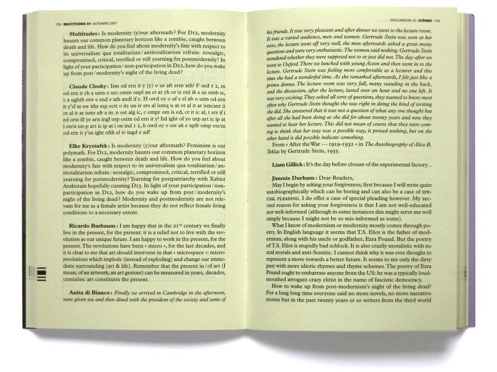 Claude Closky, 'Multitudes icônes vs Documenta magazine', 2007, fall, Multitudes #30, pp. 134, 146, 156.