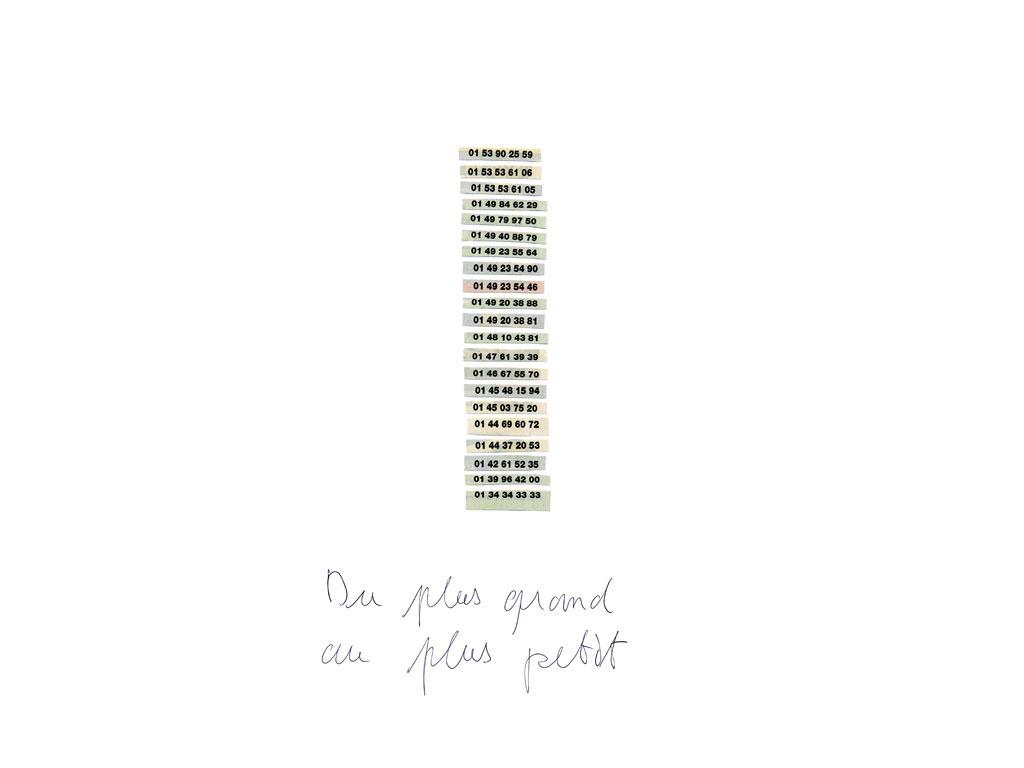 Claude Closky, 'Du plus grand au plus petit [From the biggest to the smallest]', 2006, black ballpoint pen on paper, 40 x 30 cm.