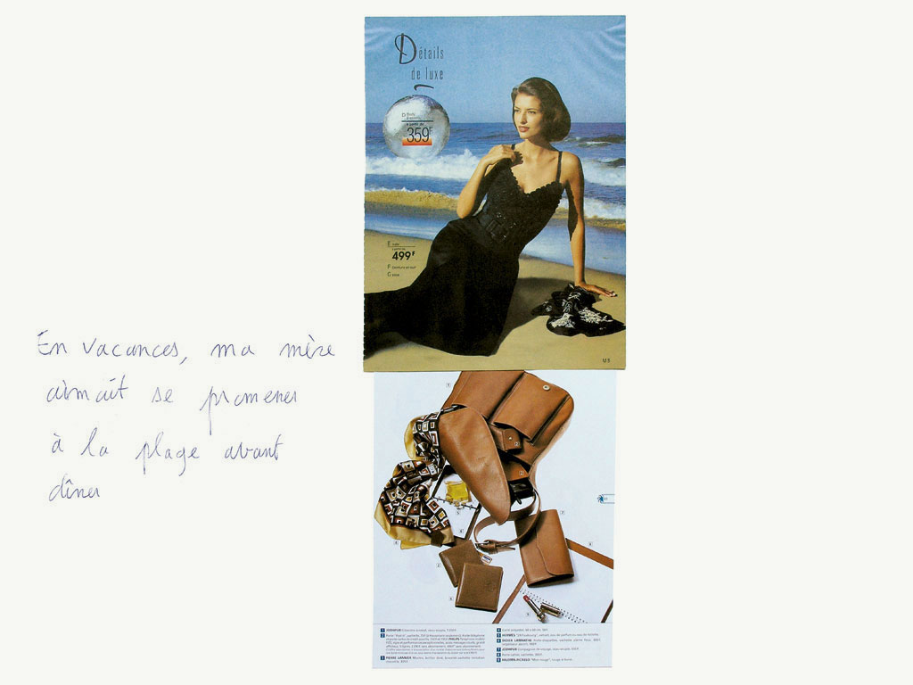 Claude Closky, 'En vacances, ma mère aimait se promener à la plage avant dîner [on holidays, my mother enjoyed walking at the beach before diner]', 1998, ballpoint pen and collage on paper, 60 x 80 cm.