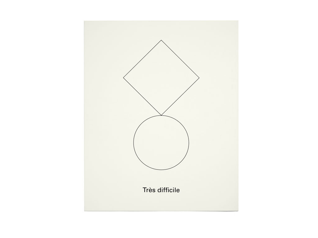 "Claude Closky, 'Facile, difficile, très difficile [Easy, difficult, very difficult]', 1992, insert in ""Ateliers 1992,"" edition Musée d'art contemporain de la ville de Paris, pp. 25-29, 3 x 25 x 20 cm."
