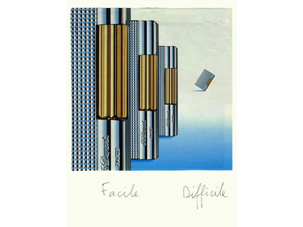 Claude Closky, 'Easy / Difficult (Lighters),' 1996, ballpoint pen and collage on paper, 32 x 24 cm.