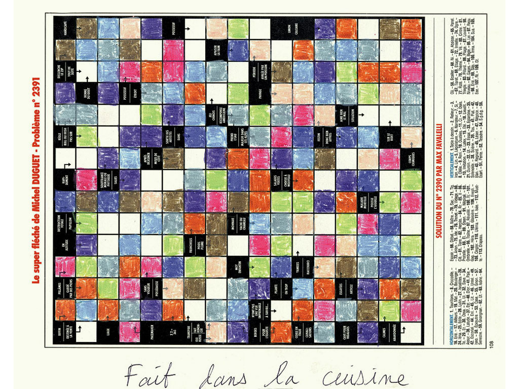 Claude Closky, 'Fait dans la cuisine [Done in the Kitchen] (crossword puzzle n° 2391)', 1996, pastel and ballpoint on newspaper, 30 x 24 cm.