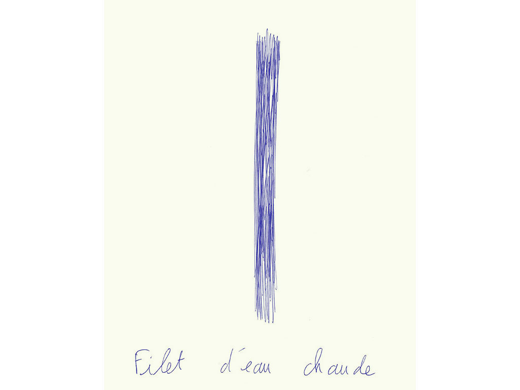 Claude Closky, 'Filet d'eau chaude [A fine steam of warm water]', 1996, blue ballpoint pen on paper, 30 x 24 cm.